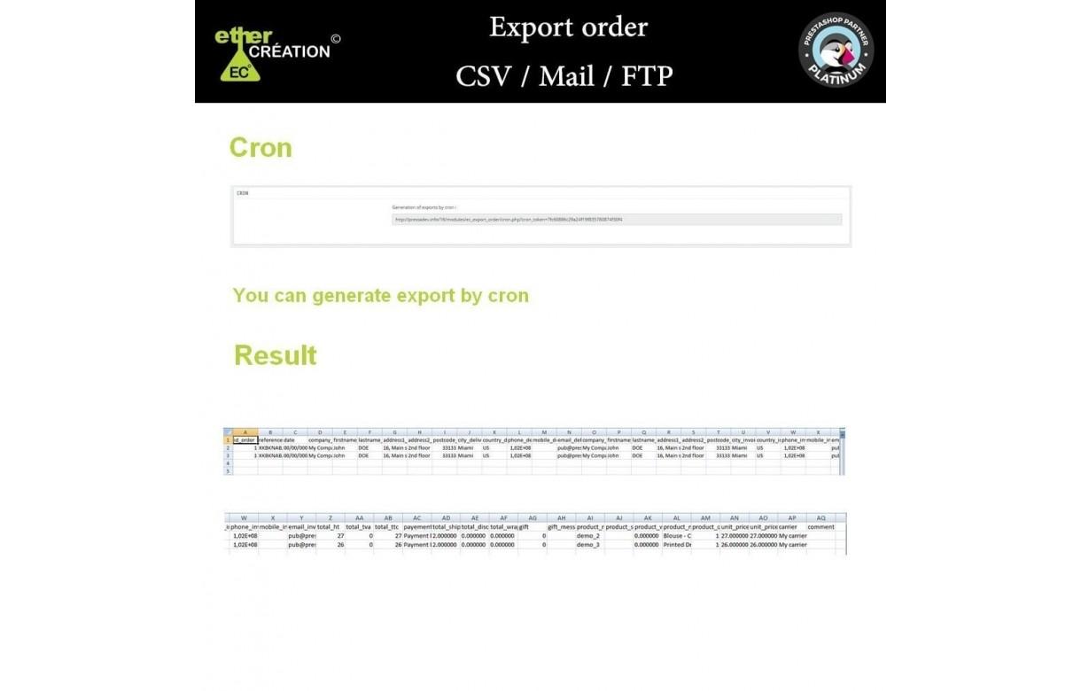 Export de commandes - Module Prestashop