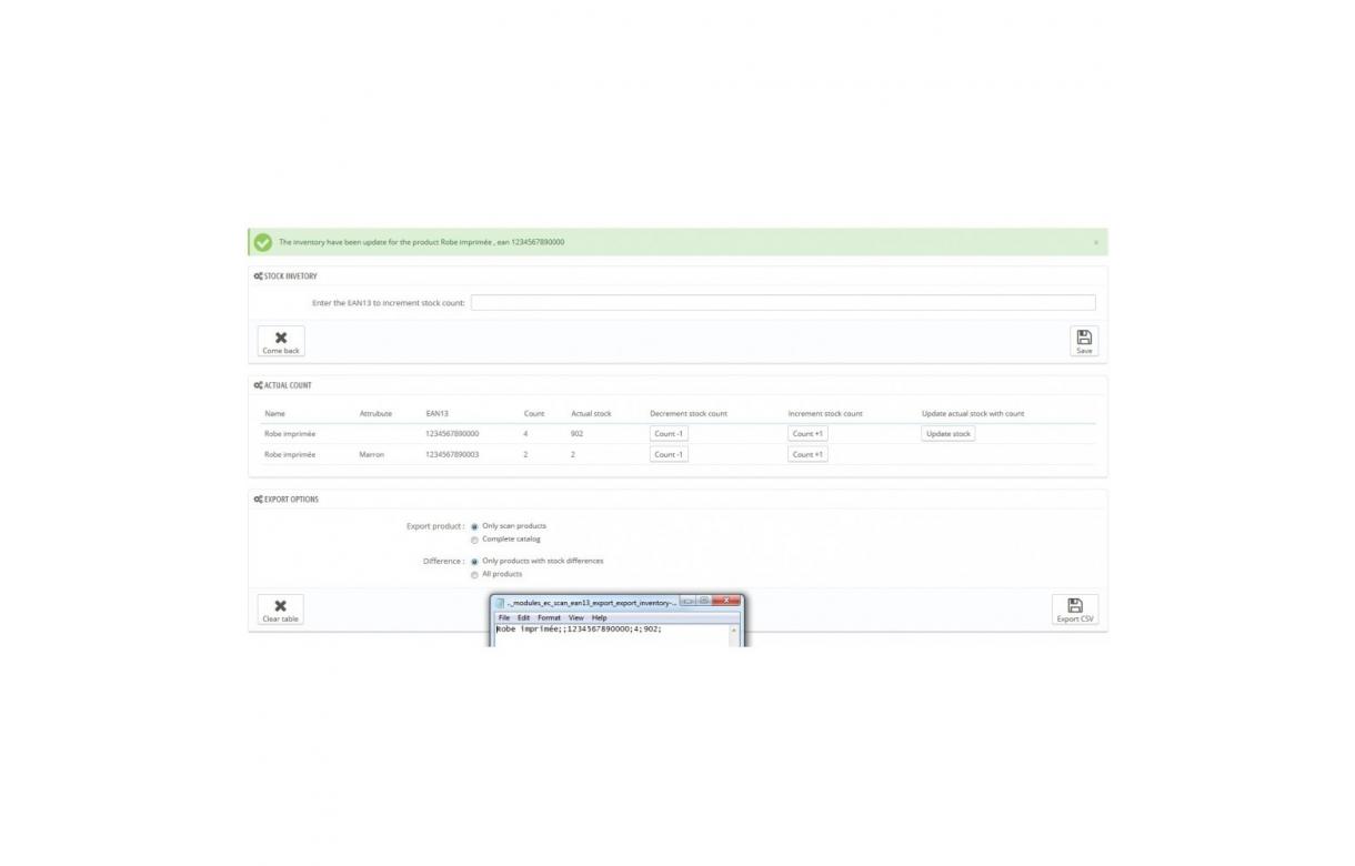 Module Scan douchette produit avec EAN13