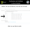 Affichage des déclinaisons disponibles et en stock
